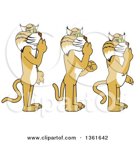 Clipart of Bobcat School Mascot Characters Gesturing Silence, Symbolizing Respect - Royalty Free Vector Illustration by Toons4Biz