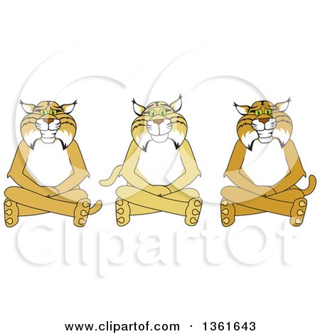 Clipart of Bobcat School Mascot Characters Sitting on the Floor, Symbolizing Respect - Royalty Free Vector Illustration by Toons4Biz