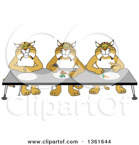 Clipart of Bobcat School Mascot Characters Eating Together, Symbolizing Respect - Royalty Free Vector Illustration by Toons4Biz