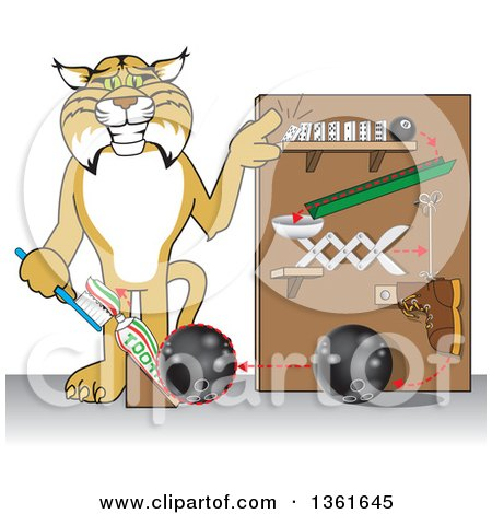 Clipart of a Bobcat School Mascot Character Showing a Toothpaste Dispenser Invention, Symbolizing Being Resourceful - Royalty Free Vector Illustration by Toons4Biz