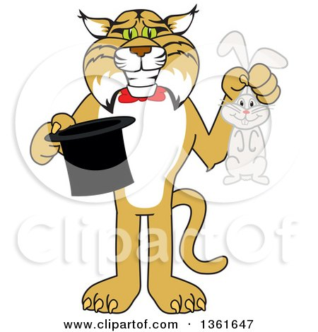 Clipart of a Bobcat School Mascot Character Holding a Rabbit and a Magic Hat, Symbolizing Being Resourceful - Royalty Free Vector Illustration by Toons4Biz