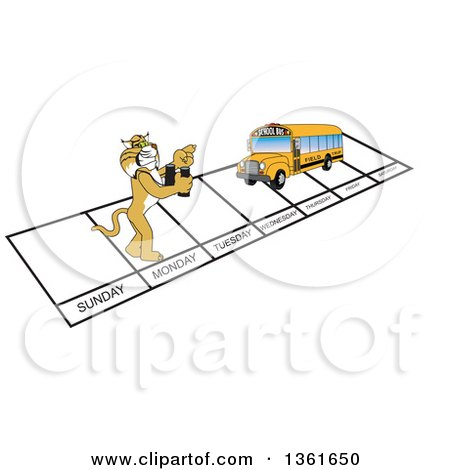 Clipart of a Bobcat School Mascot Character and Bus over Week Days, Symbolizing Being Proactive - Royalty Free Vector Illustration by Toons4Biz
