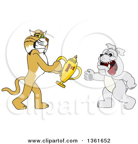 Clipart of a Bobcat School Mascot Character Giving a First Place Trophy to a Bulldog, Symbolizing Teamwork and Sportsmanship - Royalty Free Vector Illustration by Toons4Biz