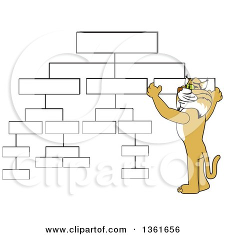 Clipart of a Bobcat School Mascot Character Setting up a Chart, Symbolizing Organization - Royalty Free Vector Illustration by Toons4Biz