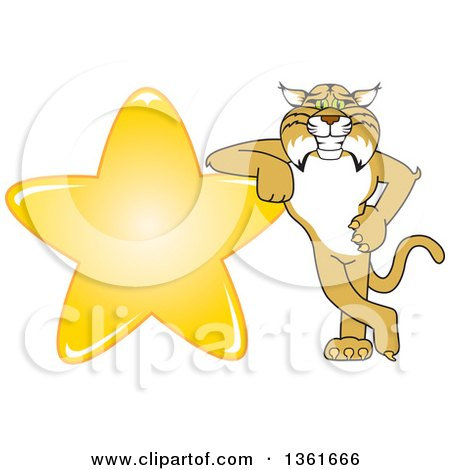 Clipart of a Bobcat School Mascot Character Leaning Against a Gold Star, Symbolizing Excellence - Royalty Free Vector Illustration by Toons4Biz