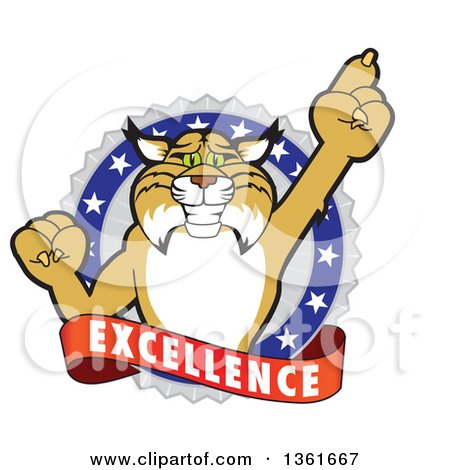 Clipart of a Bobcat School Mascot Character Holding up a Finger in an Excellence Badge - Royalty Free Vector Illustration by Toons4Biz