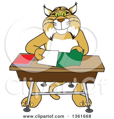 Clipart of a Bobcat School Mascot Character Organizing and Doing Homework - Royalty Free Vector Illustration by Toons4Biz