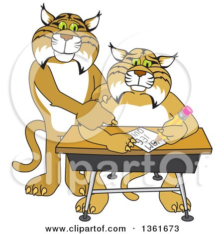 Clipart of a Compassionate Bobcat School Mascot Character Tutoring a Worried Student - Royalty Free Vector Illustration by Toons4Biz