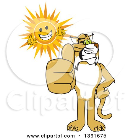 Clipart of a Bobcat School Mascot Character and Sun Holding Thumbs Up, Symbolizing Excellence - Royalty Free Vector Illustration by Toons4Biz