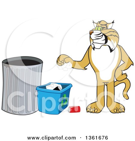 Clipart of a Bobcat School Mascot Character Recycling, Symbolizing Integrity - Royalty Free Vector Illustration by Toons4Biz