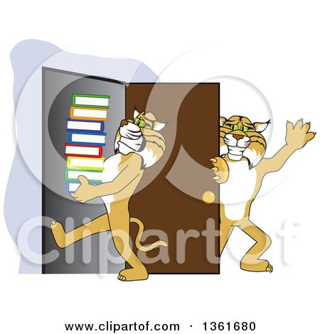 Clipart of a Bobcat School Mascot Character Holding a Door for Another Carrying Books, Symbolizing Compassion - Royalty Free Vector Illustration by Toons4Biz