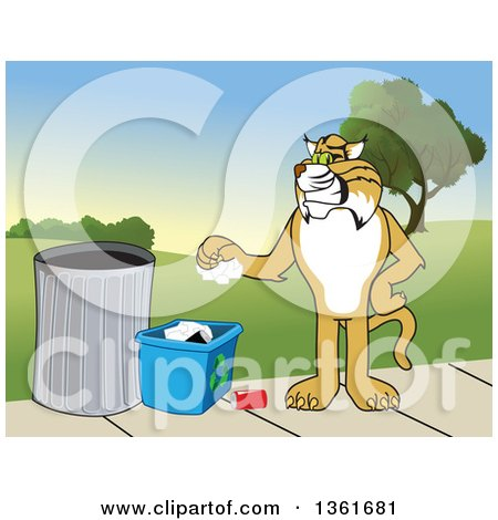 Clipart of a Bobcat School Mascot Character Recycling, Symbolizing Integrity, Against a Park Landscape - Royalty Free Vector Illustration by Toons4Biz