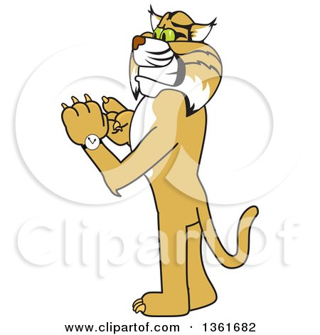 Clipart of a Bobcat School Mascot Character Checking His Watch for the Time, Symbolizing Dependability - Royalty Free Vector Illustration by Toons4Biz