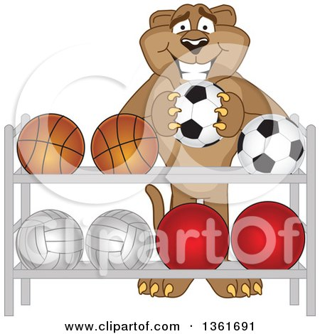 Clipart of a Cougar School Mascot Character Putting a Soccer Ball Back on a Rack, Symbolizing Respect - Royalty Free Vector Illustration by Toons4Biz