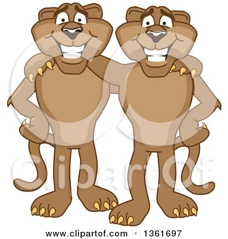 Clipart of Cougar School Mascot Characters Standing and Embracing, Symbolizing Loyalty - Royalty Free Vector Illustration by Toons4Biz