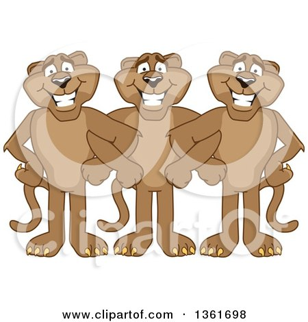 Clipart of Cougar School Mascot Characters Standing with Linked Arms, Symbolizing Loyalty - Royalty Free Vector Illustration by Toons4Biz