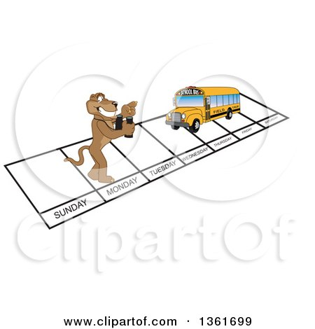 Clipart of a Cougar School Mascot Character and Bus over Week Days, Symbolizing Being Proactive - Royalty Free Vector Illustration by Toons4Biz