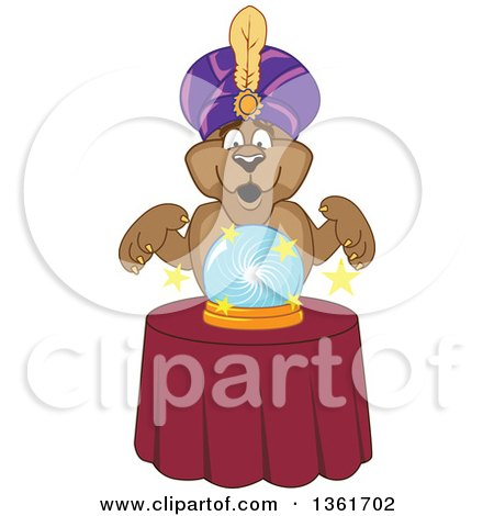 Cougar School Mascot Character Fortune Teller Looking into a Crystal Ball, Symbolizing Being Proactive Posters, Art Prints