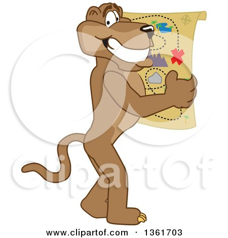 Clipart of a Cougar School Mascot Character Holding a Map, Symbolizing Being Proactive - Royalty Free Vector Illustration by Toons4Biz