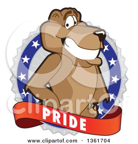 Cougar School Mascot Character on a Pride Badge Posters, Art Prints