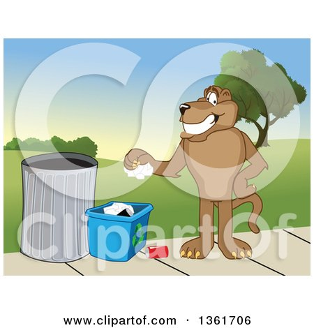 Clipart of a Cougar School Mascot Character Recycling, Symbolizing Integrity - Royalty Free Vector Illustration by Toons4Biz