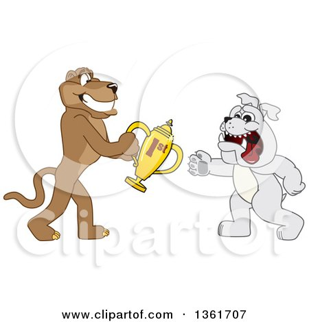 Clipart of a Cougar School Mascot Character Giving a First Place Trophy to a Bulldog, Symbolizing Teamwork and Sportsmanship - Royalty Free Vector Illustration by Toons4Biz