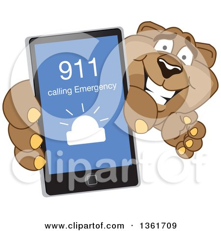 Clipart of a Cougar School Mascot Character Holding up a Smart Phone and Calling an Emergency Number, Symbolizing Safety - Royalty Free Vector Illustration by Toons4Biz