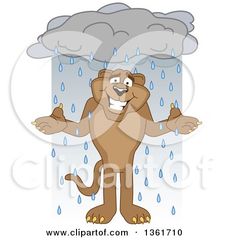 Clipart of a Cougar School Mascot Character Shrugging in the Rain, Symbolizing Acceptance - Royalty Free Vector Illustration by Toons4Biz