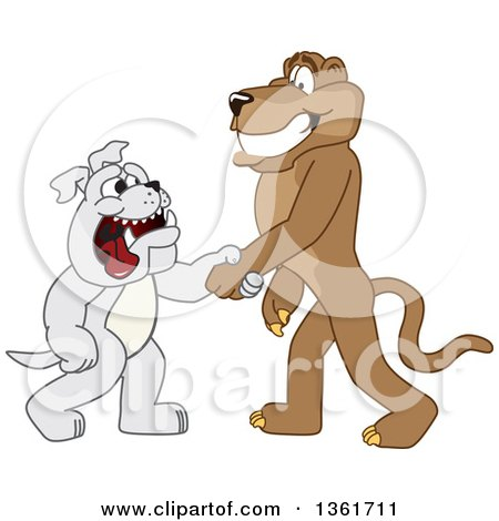 Clipart of a Cougar School Mascot Character Shaking Hands with a Bulldog, Symbolizing Acceptance - Royalty Free Vector Illustration by Toons4Biz