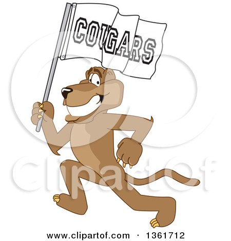 Clipart of a Cougar School Mascot Character Running with a Team Flag, Symbolizing Pride - Royalty Free Vector Illustration by Toons4Biz