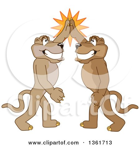 Clipart of Cougar School Mascot Characters High Fiving, Symbolizing Pride - Royalty Free Vector Illustration by Toons4Biz