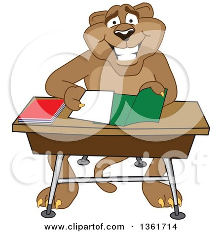 Clipart of a Cougar School Mascot Character Organizing and Doing Homework, Symbolizing Organization - Royalty Free Vector Illustration by Toons4Biz