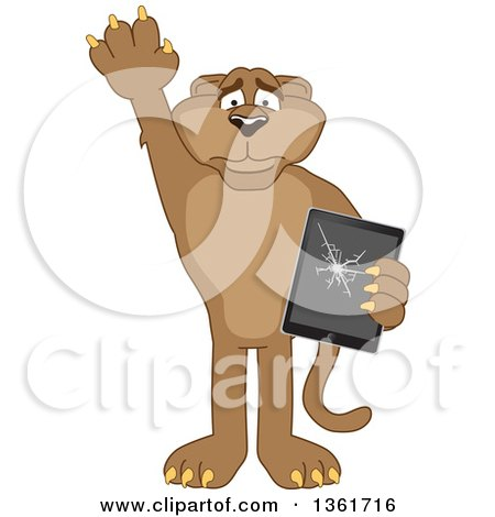 Clipart of a Cougar School Mascot Character Confessing to Breaking a Tablet Computer, Symbolizing Integrity - Royalty Free Vector Illustration by Toons4Biz