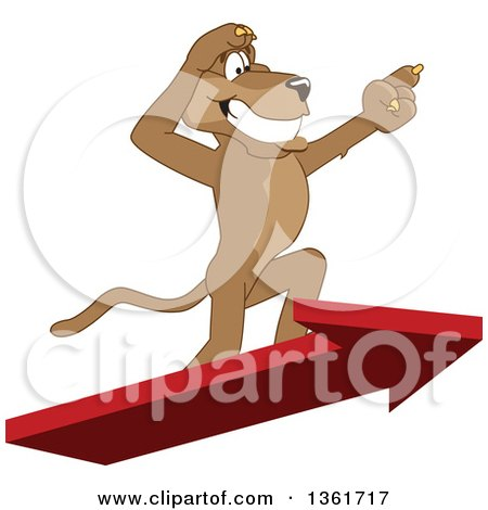 Clipart of a Cougar School Mascot Character Standing on an Arrow and Pointing, Symbolizing Leadership - Royalty Free Vector Illustration by Toons4Biz