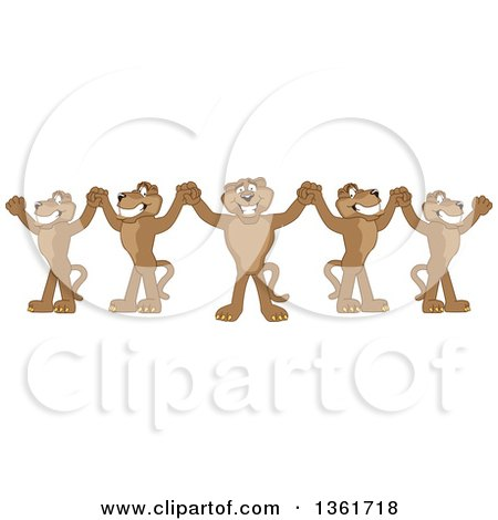 Clipart of a Team of Cougar School Mascot Characters Cheering and Holding up Hands, Symbolizing Leadership - Royalty Free Vector Illustration by Toons4Biz