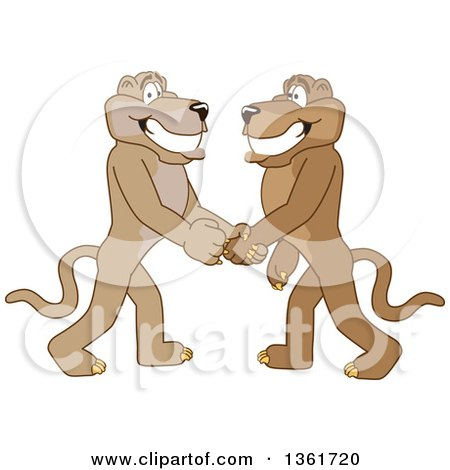 Clipart of Cougar School Mascot Characters Shaking Hands, Symbolizing Gratitude - Royalty Free Vector Illustration by Toons4Biz