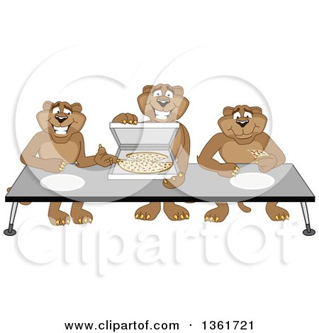 Clipart of Cougar School Mascot Characters Offering Pizza, Symbolizing Gratitude - Royalty Free Vector Illustration by Toons4Biz