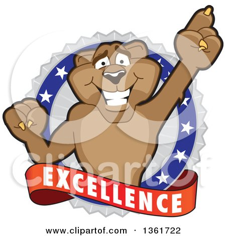Clipart of a Cougar School Mascot Character Holding up a Finger on an Excellence Badge - Royalty Free Vector Illustration by Toons4Biz