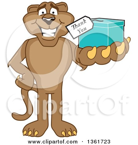 Clipart of a Cougar School Mascot Character Holding up a Thank You Gift, Symbolizing Gratitude - Royalty Free Vector Illustration by Toons4Biz