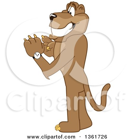 Clipart of a Cougar School Mascot Character Checking His Watch for the Time, Symbolizing Being Dependable - Royalty Free Vector Illustration by Toons4Biz