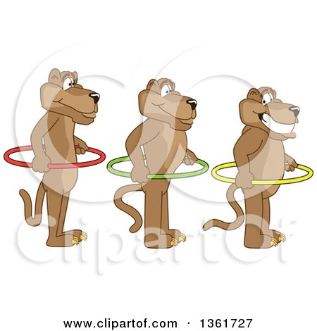 Clipart of Cougar School Mascot Characters Holding Hoops and Standing in Line, Symbolizing Respect - Royalty Free Vector Illustration by Toons4Biz