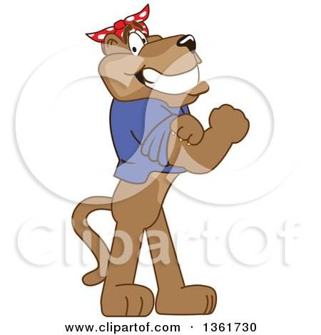 Clipart of a Cougar School Mascot Character Riveter Wearing a Bandana and Flexing Muscles, Symbolizing Determination - Royalty Free Vector Illustration by Toons4Biz