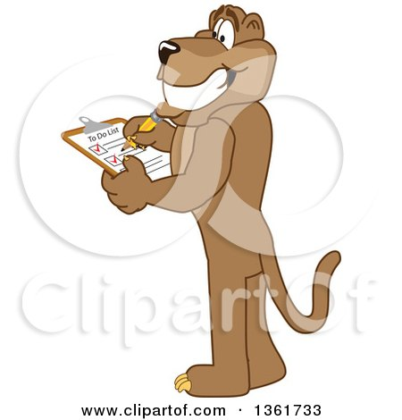 Clipart of a Cougar School Mascot Character Completing a to Do List, Symbolizing Being Dependable - Royalty Free Vector Illustration by Toons4Biz