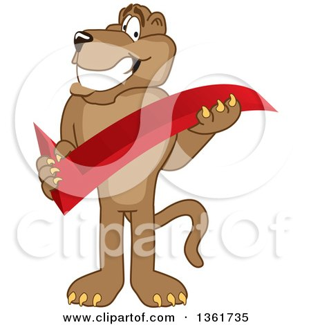 Clipart of a Cougar School Mascot Character Holding a Check Mark, Symbolizing Acceptance - Royalty Free Vector Illustration by Toons4Biz
