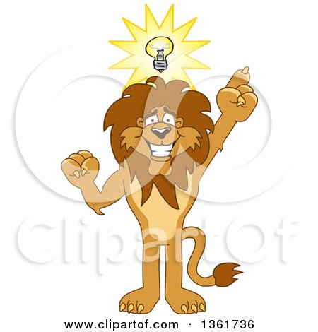 Clipart of a Lion School Mascot Character with an Idea, Symbolizing Being Resourceful - Royalty Free Vector Illustration by Toons4Biz
