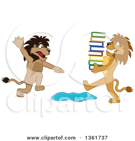 Clipart of a Lion School Mascot Character Warning Another That Is Carrying Books About a Puddle, Symbolizing Being Proactive - Royalty Free Vector Illustration by Toons4Biz