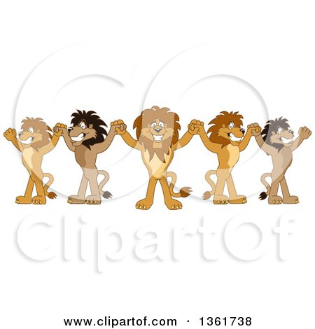 Clipart of a Team of Lion School Mascot Characters Cheering and Holding up Hands, Symbolizing Leadership - Royalty Free Vector Illustration by Toons4Biz