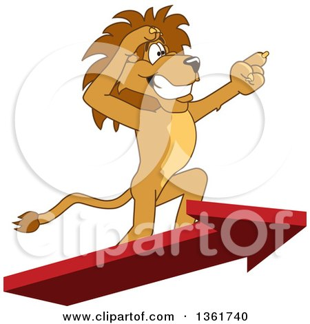 Clipart of a Lion School Mascot Character Standing on an Arrow and Pointing, Symbolizing Leadership - Royalty Free Vector Illustration by Toons4Biz