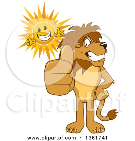 Clipart of a Lion School Mascot Character and Sun Giving Thumbs Up, Symbolizing Excellence - Royalty Free Vector Illustration by Toons4Biz