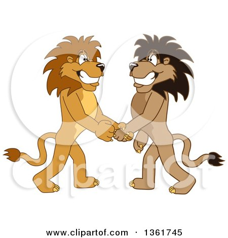 Clipart of Lion School Mascot Characters Shaking Hands, Symbolizing Gratitude - Royalty Free Vector Illustration by Toons4Biz